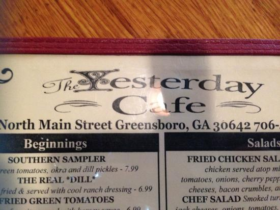The Yesterday Cafe: Yesterday Cafe Menu