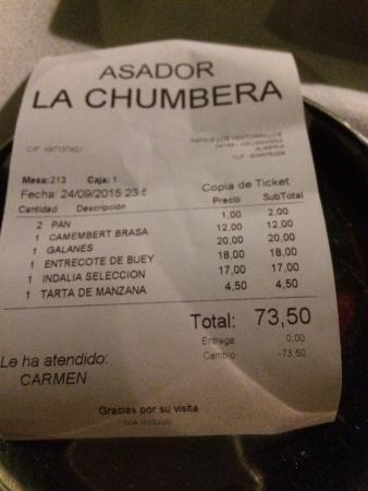 Asador La Chumbera: Detalle de la factura