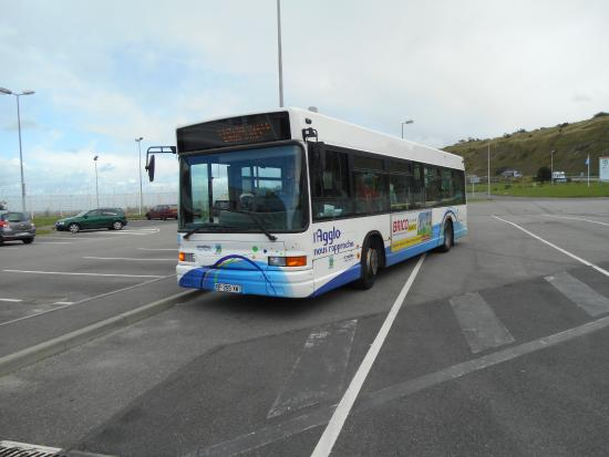 The bus for the town meets the ferry at Dieppe Picture of DFDS
