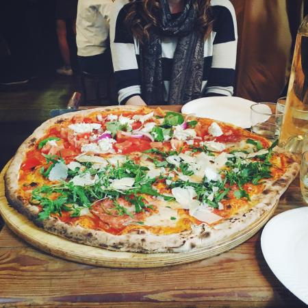 Homeslice Pizza Caprese And Salami Rocket Parmesan
