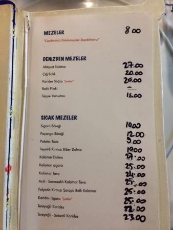 Adamik Restaurant And Cafe: menü