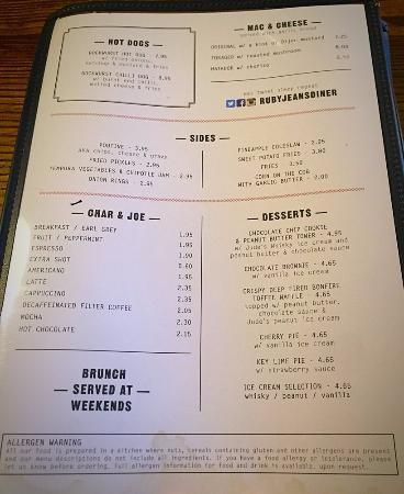 The Sindercombe Social: menu