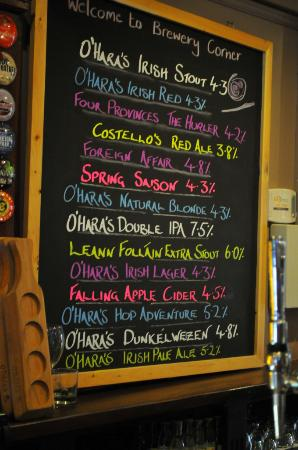 O'Hara's Brewery Corner: A very small taster of what's on offer