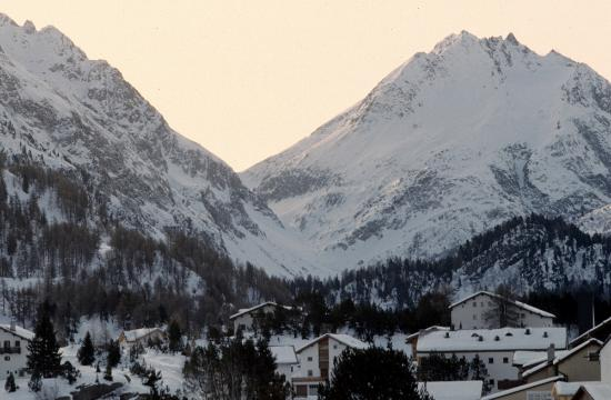 Canton of Graubunden, Sveits: panorama invernale