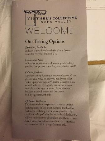 Vintner's Collective : Tasting menu, September 2015