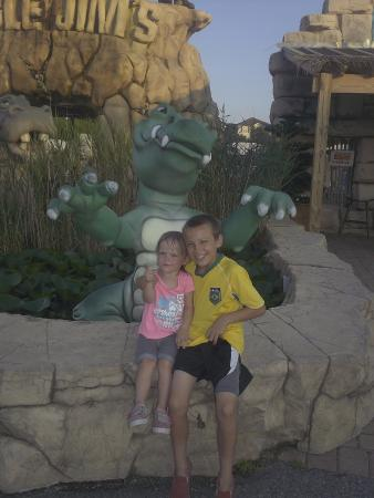 Jungle Jim's: My kiddos with the Jungle Jims sculptures