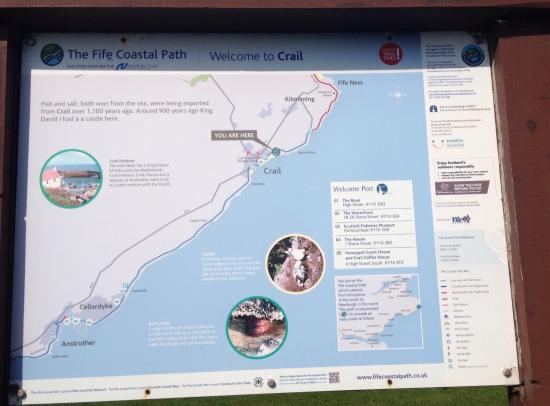 Fife, UK: Information Board at Roome Bay Crail