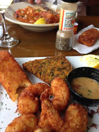 Sunset Grille: Coconut Shrimp and Cheese grits and regular grits