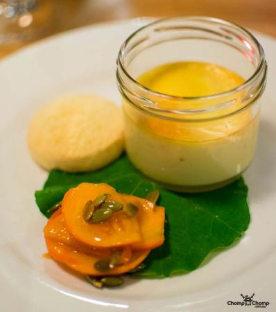 Foragers: Honey custard, persimmon and pumpkin seed salad, ginger biscuit (GF adapted)