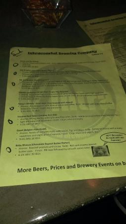 Intracoastal Brewing Company: beer list