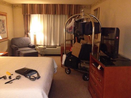 Hilton Garden Inn Irvine East / Lake Forest: Обычный номер и тележка, на которой можно довезти свои вещи из холла