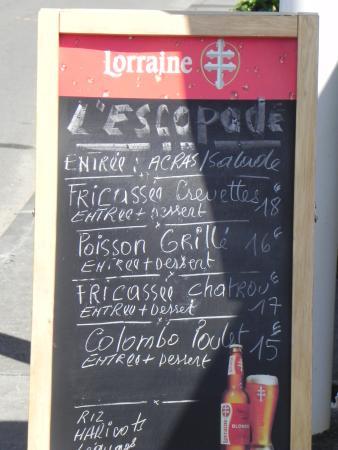 L'Escapade Chez Tatie Lise : L'escapade - la carte