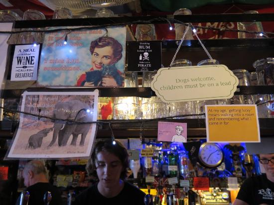 The Bounty: Quirky signs above the bar