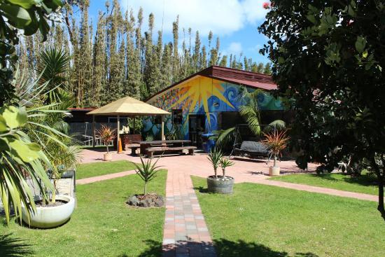 Ahipara Holiday Park: Garden/Barbeque