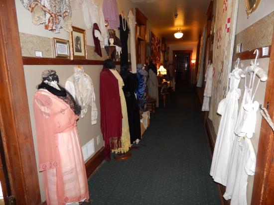 Buffalo, WY: 2nd floor hallway with period clothing on display