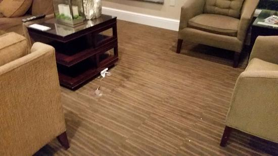 Hilton Garden Inn St Louis Airport: cords exposed, easy to trip