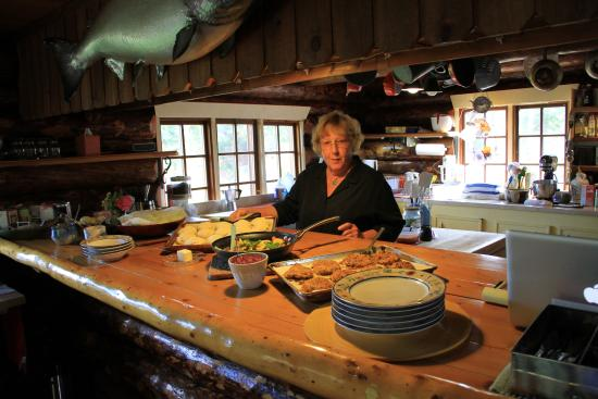 Iniakuk Lake Wilderness Lodge: Pat and her creations