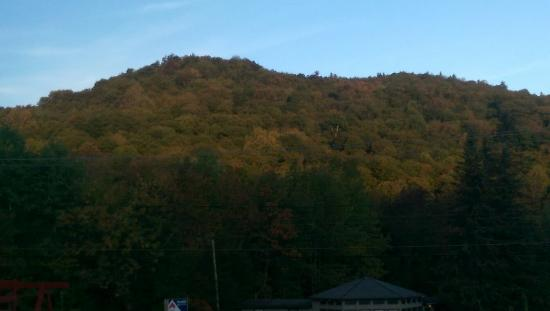 Killington Motel: The view in the morning from my room, the fire at night and the delicious freshly-made blueberry