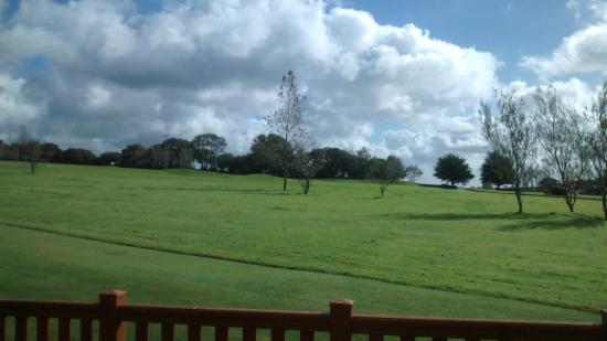 Doublebois, UK : The view from the Falcon cabin over lovingly cared for grass and golf course