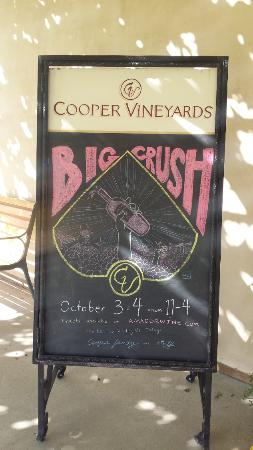 Cooper Vineyards: Big Crush the weekend of October 3rd and 4th