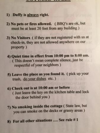 Duffy's Cottages & Suites: Rules
