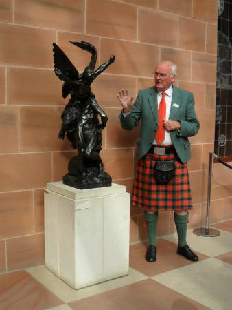 The Burrell Collection: Our guide in front of a statue