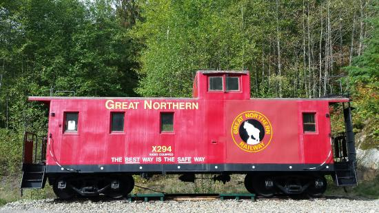 Skykomish, WA: Great Northern Railroad caboose.  Iron Goat Trailhead.