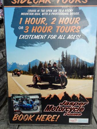Jasper Motorcycle Tours Day Tours: Look for this Billboard or you miss the store