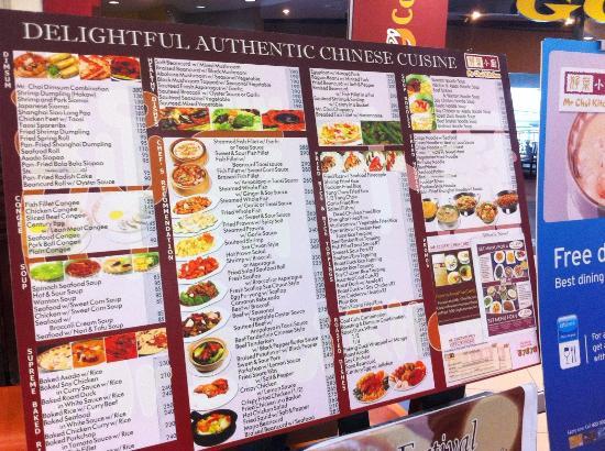 Mr Choi Kitchen Menu Galleria