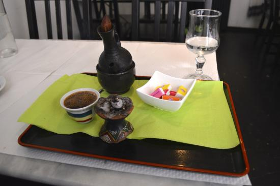 Restaurant Sheger: Ethiopian coffee, served with incense
