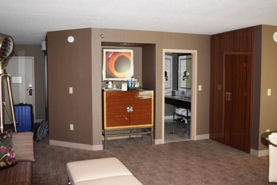mgm grand hotel and casino tower spa suite living area and mini bar