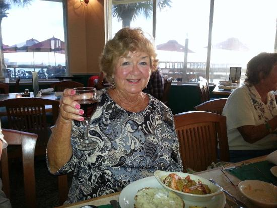 Jack Baker's Lobster Shanty: Birthday Gal celebrating with a glass of wine