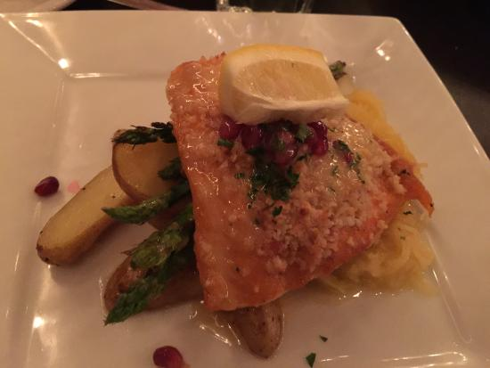 Haskill Station: macadamia-crusted steelhead trout • orange-basil buerre blanc, fingerling potatoes