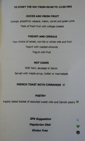 Room Service Breakfast Menu Picture Of Marquis Los Cabos All Inclusive Resort Amp Spa San Jose