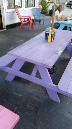 Silver Shores Shanty: Colorful tables, need a wash