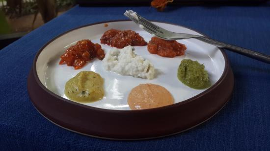 The Raintree: Selection of chuteys and pickles on my plate