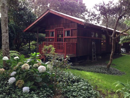 Crater Rim Cabin: Cabin from the surrounding gardens