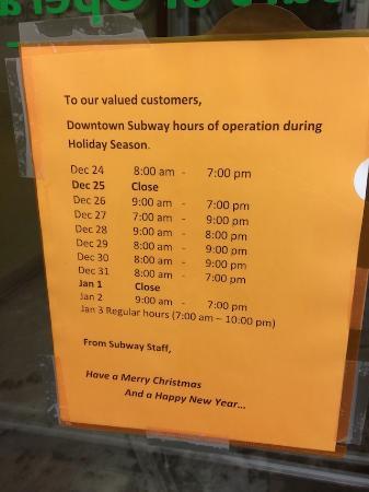 Subway: 2014年 年末のスケジュールです