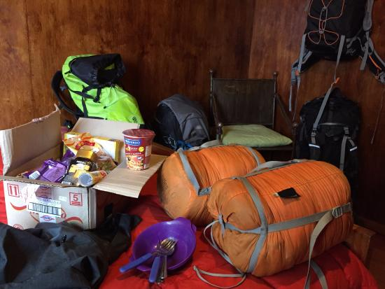 Patagonia Aventura: Packing up for Torres in our in the room, sleeping bag courtesy of the hostel's rental