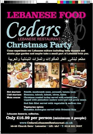 Christmas Restaurant Poster.Christmas Party Menu Picture Of Cedars Lebanese Restaurant
