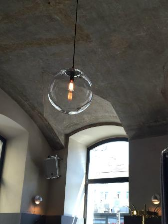 Cafe Drechsler Nicht Verputzte Decke Designer Lampe Picture Of