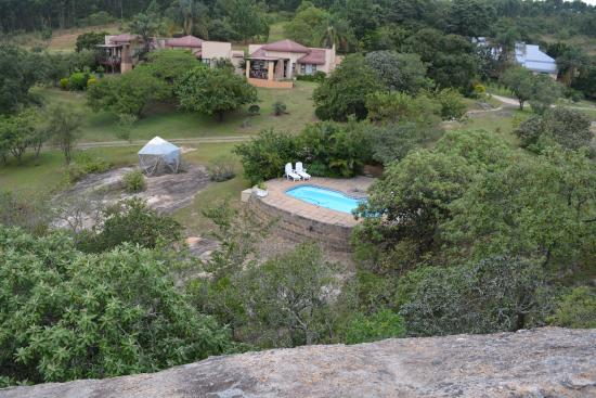 Hulala Lakeside Lodge: The House from the top of a nearby tall rock,