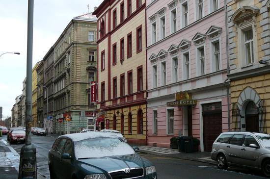City Crown Hotel: район отеля Жижков (Прага 5) -крыльцо отеля