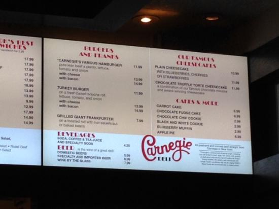 Look at the price of one slice of cheesecake!! - Picture of Carnegie Carnegie Deli Map on