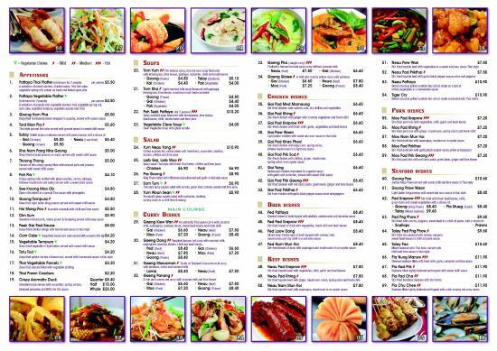 Beer Thai Garden Restaurant Menu