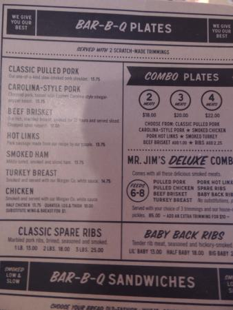 Jim & Nicks BBQ: menu
