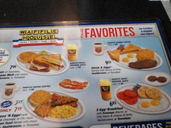 Waffle House: partial  menu