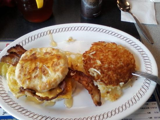 Waffle House: Bacon egg  cheese  bisquit w/  hash  browns