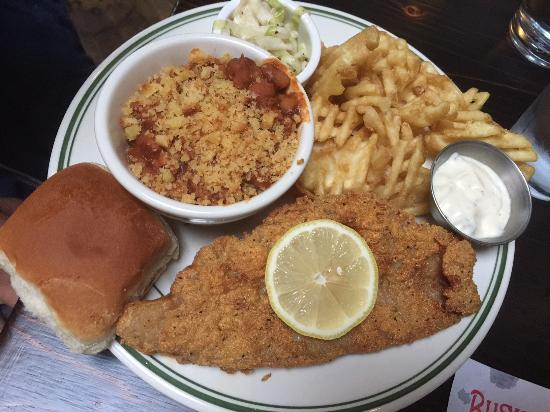 Buxton Hall Barbecue: Fried Catfish with Baked Beans and Waffle Fries