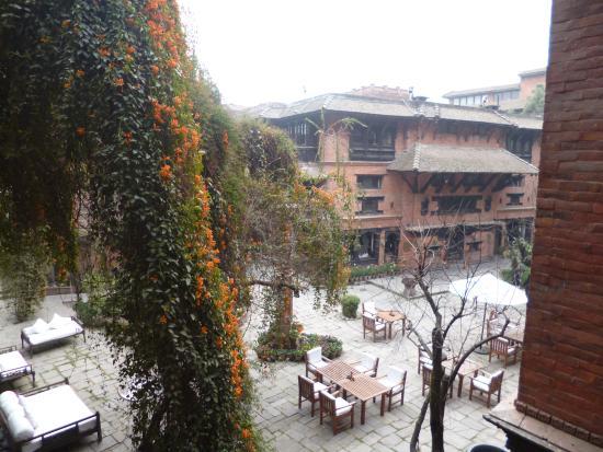 Inner court of Dwarika's Hotel in Kathmandu as seen from Room 205
